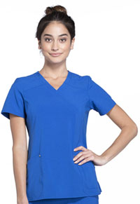 Cherokee Mock Wrap Knit Panel Top Royal (CK680-ROY)