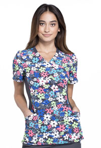 Cherokee Mock Wrap Knit Panel Top Petals In Motion (CK681-PTMO)