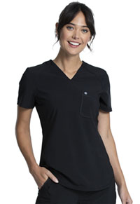 Cherokee Tuckable V-Neck Top Black (CK687A-BAPS)