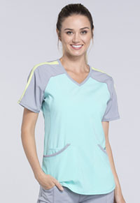 Cherokee Colorblock V-Neck Top Aqua (CK690A-AQPS)