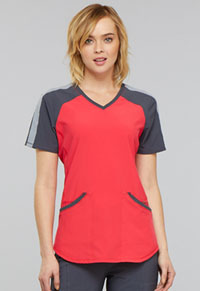 Cherokee Colorblock V-Neck Top Punch (CK690A-PUNC)