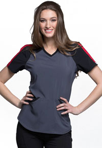 Cherokee Colorblock V-Neck Top Pewter (CK690A-PWPS)