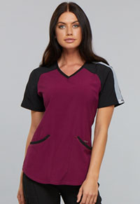 Cherokee Colorblock V-Neck Top Wine (CK690A-WNPS)