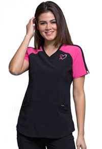 Cherokee V-Neck Colorblock Top Black (CK740A-BAPS)
