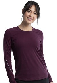 Cherokee Long Sleeve Underscrub Knit Tee Wine / Black (CK765-WIBA)