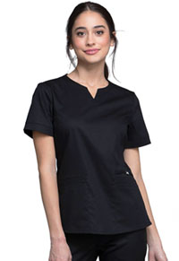 Cherokee Notch V-Neck Top Black (CK770-BLKV)