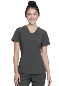 Cherokee V-Neck Knit Panel Top Pewter (CK775-PWT)
