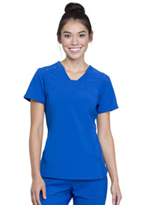 Cherokee V-Neck Knit Panel Top Royal (CK775-ROY)