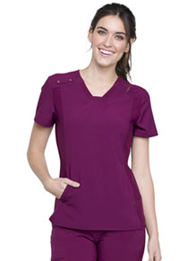 Cherokee V-Neck Knit Panel Top Wine (CK775-WIN)