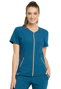 Statement V-Neck Zip Front Top (CK795-CAR) (CK795-CAR)