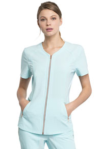 Statement V-Neck Zip Front Top (CK795-CLWA) (CK795-CLWA)