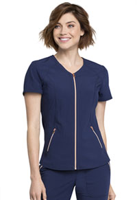 Statement V-Neck Zip Front Top (CK795-NAV) (CK795-NAV)
