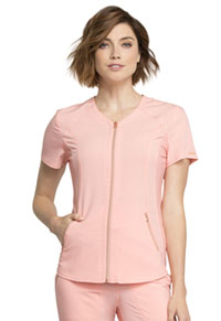 Cherokee V-Neck Zip Front Top Peaches and Cream (CK795-PACR)