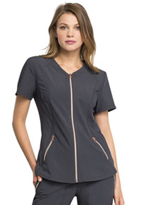 Statement V-Neck Zip Front Top (CK795-PWT) (CK795-PWT)