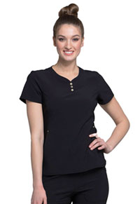 Cherokee V-Neck Button Placket Top Black (CK800-BLK)