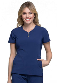 V-Neck Button Placket Top (CK800-NAV)
