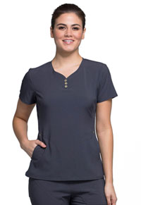 Cherokee V-Neck Button Placket Top Pewter (CK800-PTPW)