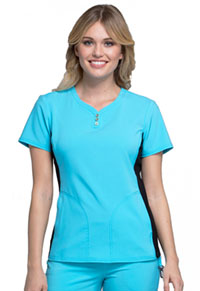 Cherokee V-Neck Button Placket Top Turquoise (CK800-TRQ)