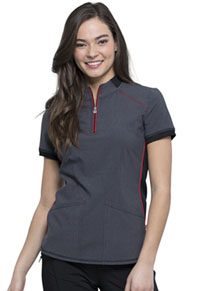 Cherokee Zip-up Mock Neck Top Heather Charcoal (CK805A-HTCH)