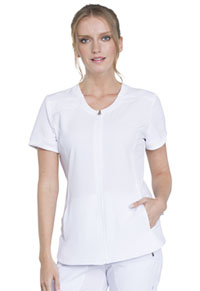 Cherokee Zip Front V-Neck Top White (CK810A-WTPS)