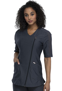Cherokee Asymmetrical Zip Front Tunic Pewter (CK842-PWT)