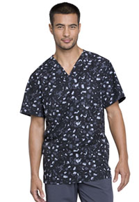 Cherokee Men's V-Neck Top Brush Stroke Black (CK902-BOBK)