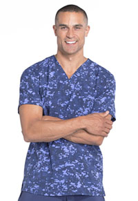 Cherokee Men's V-Neck Top Gridlock Block Navy (CK902-GRNY)