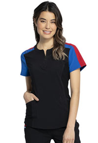 Katie Duke iFlex Zip Neck Top (CKK821-BLK) (CKK821-BLK)