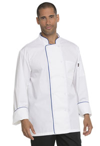 Dickies Chef Unisex Cool Breeze Chef Coat with Piping White With Royal (DC411-WTRO)