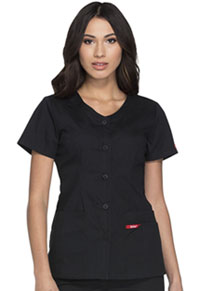 Dickies Button Front V-Neck Top Black (DK605-BLWZ)