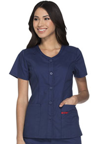 Dickies Button Front V-Neck Top Navy (DK605-NVWZ)