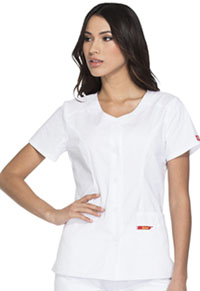 Dickies Button Front V-Neck Top White (DK605-WHWZ)