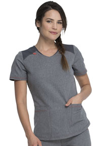 Dickies Rounded V-Neck Top Heather Pewter (DK621-HTPT)
