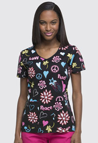 Dickies V-Neck Top Peace & Love (DK700-PALE)