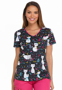 Dickies V-Neck Top Pretty Little Kitty (DK700-PYKY)