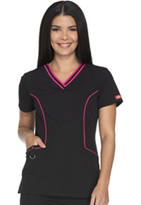 Xtreme Stretch Contrast Piping V-Neck Top (DK715-BLKZ) (DK715-BLKZ)