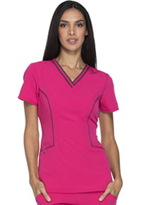 Xtreme Stretch Contrast Piping V-Neck Top (DK715-HPKZ) (DK715-HPKZ)
