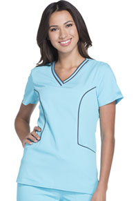 Dickies Contrast Piping V-Neck Top Icy Turquoise (DK715-ITQZ)