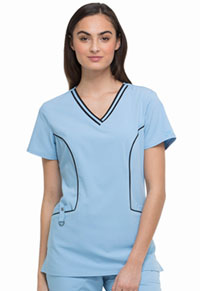 Xtreme Stretch Contrast Piping V-Neck Top (DK715-SKYZ) (DK715-SKYZ)