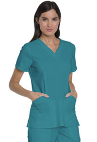 Dickies V-Neck Top With Patch Pockets Teal Blue (DK755-TLB)