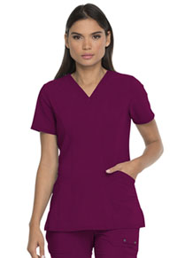 Dickies V-Neck Top With Patch Pockets Wine (DK755-WIN)