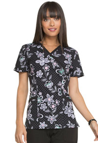 Elle Mock Wrap Top Wings In Bloom Black (EL602-WGBL)
