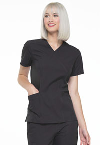 Simply Polished Mock Wrap Top (EL620-BLK) (EL620-BLK)