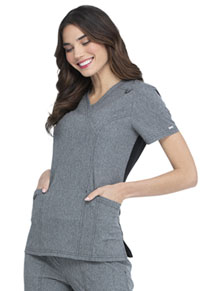 Elle Mock Wrap Top Heather Grey (EL620-HGY)