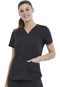 Elle 2-Pocket V-Neck Top Black (EL622-BLK)