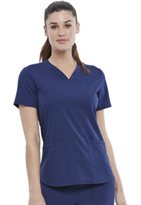 Elle 2-Pocket V-Neck Top Navy (EL622-NAV)