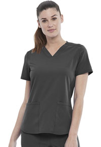 Elle 2-Pocket V-Neck Top Pewter (EL622-PWT)