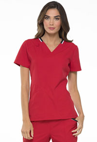 Simply Polished V-Neck Top (EL650-RED) (EL650-RED)