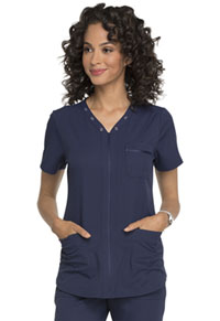 Simply Polished Eyelet V-Neck Top (EL690-NAV) (EL690-NAV)