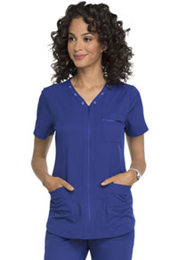 Simply Polished Eyelet V-Neck Top (EL690-ROY) (EL690-ROY)